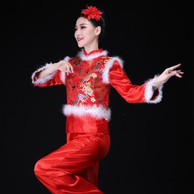 秧歌服演出服女腰鼓服喜慶舞蹈服裝中老年加厚廣場舞套裝冬季 紅色