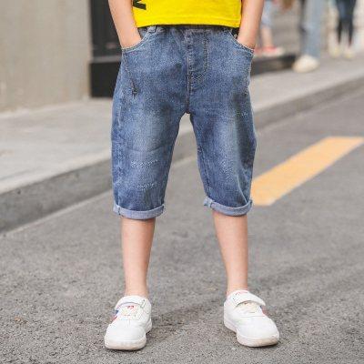 男童装牛仔裤新款儿童运动短裤薄款中大童夏季七分潮裤子