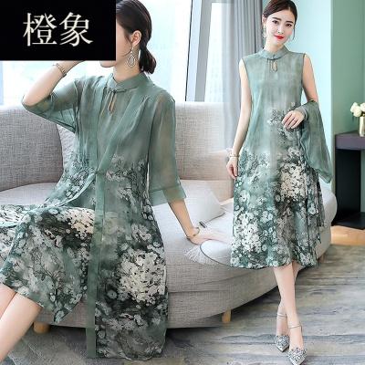 橙象2019新款女装春装夏装套装中国风两件套秋唐装中式改良旗袍连衣裙