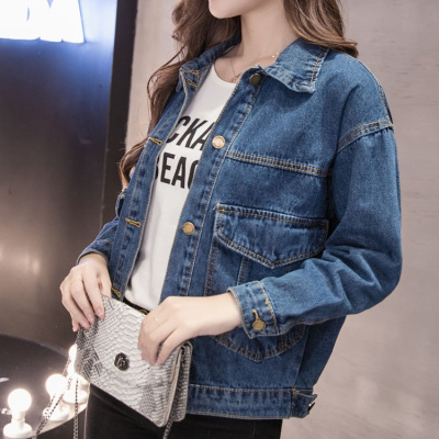 黛筱詩牛仔外套女春季2019新款潮韓版學生寬松bf薄款夾克衫秋裝短款上衣