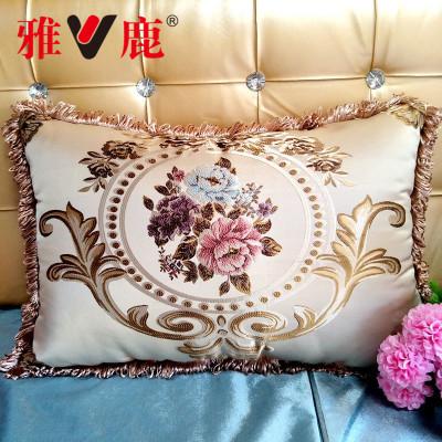 雅鹿 沙发抱枕套客厅靠垫 欧式提花靠背含芯靠枕枕头 有含芯不含芯及芯子单件可选