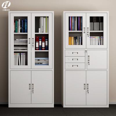 文件柜辦公室鐵皮帶鎖資料柜鋼制檔案收納柜儲物矮柜書柜憑證柜子
