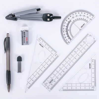 得力(deli) 9591 尺子学生绘图套装8件套 圆规尺规套装考试套装套尺 盒装