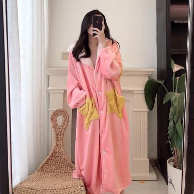 炫出自我(XUANCHUZIWO)2019新款休闲宽松星星睡袍法兰绒长款睡袍睡衣女