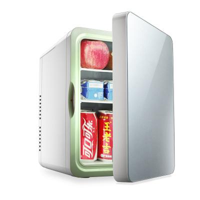 先科(SAST)10L车载冰箱车家两用单门式制冷小型家用宿舍冷藏迷你小冰箱 金色玻璃门