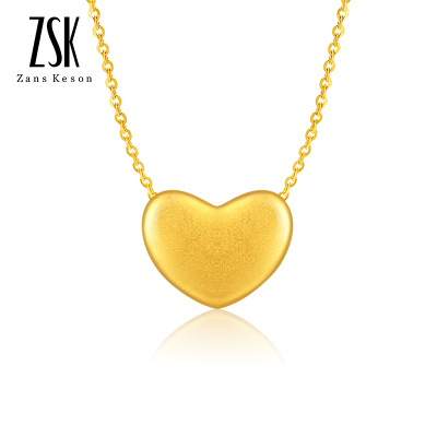ZSK珠寶 心形黃金吊墜女 3D硬足金999時尚愛心吊墜女款18k黃金項鏈 送女朋友禮物 送鍍金銀項鏈