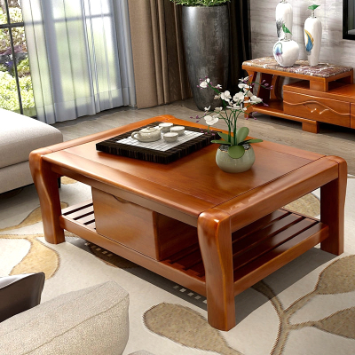 青木川 實木茶幾 客廳家具帶抽屜組合大小戶型茶臺 長方形收納儲物功夫木質泡茶桌子 簡約現代中式