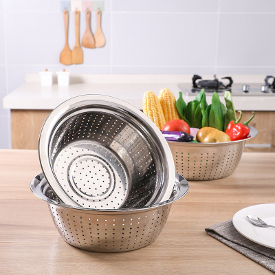 潘西不銹鋼洗菜盆淘米籃家用圓形廚房洗米篩漏盆果盤客廳水果盆瀝水籃—中號