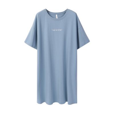 安之伴睡裙女夏冰瓷棉素色短袖女裙