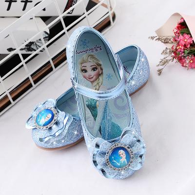 女童公主鞋小女孩皮鞋愛莎女寶寶淺口冰雪奇緣軟底艾莎兒童水晶鞋