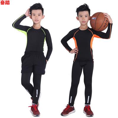 兒童緊身衣長袖套裝健身服力運動跑步籃球訓練打底速干衣男