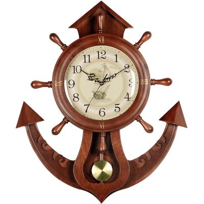 汉时(Hense)创意船舵挂钟个性钟表欧式客厅装饰静音摆钟HP09