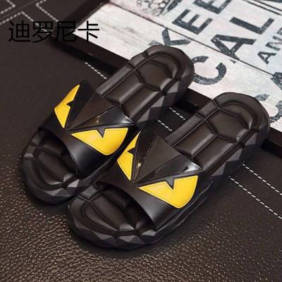 迪羅尼卡2019新款小怪獸涼拖鞋男夏季防滑家居百搭平底沙灘涼鞋一字拖