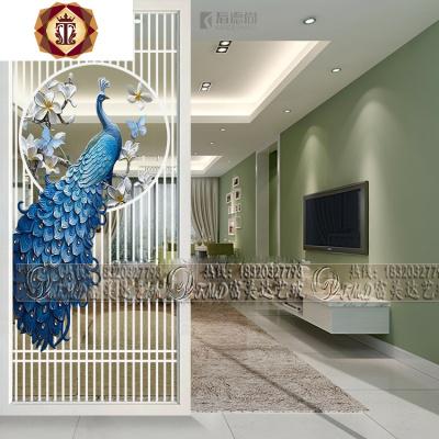 鋼化入戶屏風玻璃玄關隔斷定制客廳臥室磨砂透光藝術裝飾現代孔雀