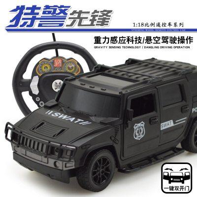 。充電遙控警車兒童玩具110公安汽車燈光音樂2男孩生日 黑色霸氣特警車(充電款方向盤重力感應 兩個充電電池(送遙控電池)