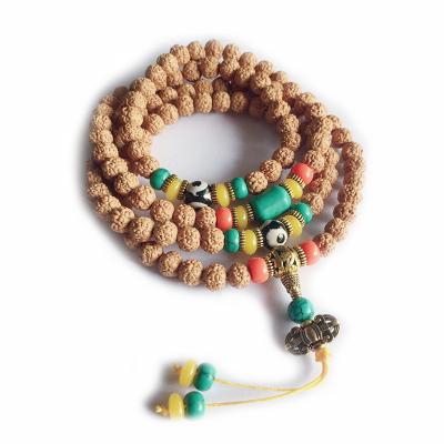 帛蘭梓韻 天然金剛菩提手鏈108男女通用款手串藏式五瓣菩提子多圈手鏈木質