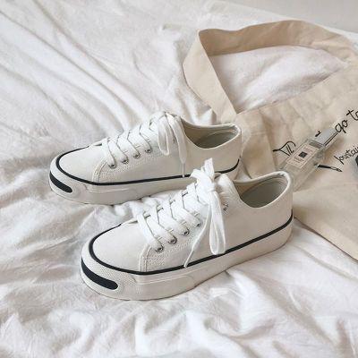 臘爸臘媽開口笑帆布鞋女2020秋季新款韓版ulzzang百搭原宿學生平底小白鞋