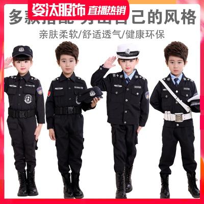 六一兒童節警察制服兒童演出服套裝男孩小公安黑貓警長服裝幼兒園童裝警官服