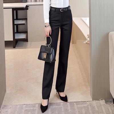 2018款西褲女職業正裝褲直筒中腰工作長褲黑色西服工裝工作服褲子西裝褲