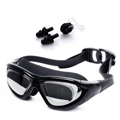 佑游男女大框電鍍平光/近視泳鏡潛水專業帶度數游泳眼鏡