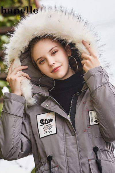 拉夏貝爾Puella品牌羽絨服女中長款鴨絨派克服冬裝女新款20011389