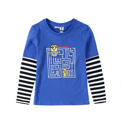 小黄人IP款小猪班纳童装男童长袖T恤2019新款男童假两件卫衣男童T恤