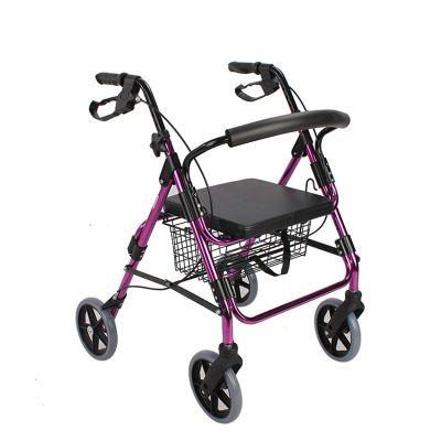 佛山东方(AUFU)助行辅助器FS965LH-A可折叠四轮老人助步器带座板坐凳菜篮购物车铝合金助行辅助行走器