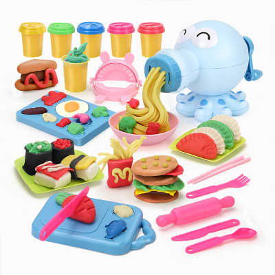 勾勾手(gougoushou)兒童彩泥橡皮泥玩具面條機男孩女孩益智玩具2-6歲【章魚彩泥面條機-藍色】