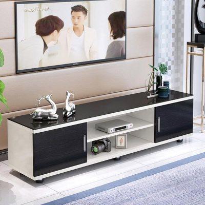 電視柜簡約現代鋼化玻璃伸縮電視柜茶幾組合迷你小戶型客廳地柜 組裝_B款1.0米 組裝_B款1.0米暖白配黑+黑玻