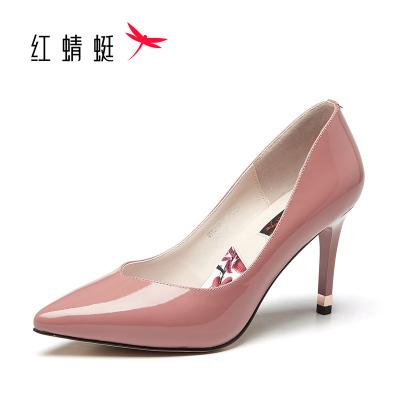 紅蜻蜓高跟鞋秋季真皮透氣尖頭淺口細跟高跟鞋女性感漆皮夜店女鞋百搭OL職業工作單鞋