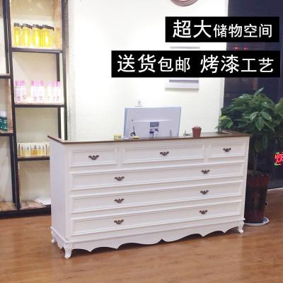 烤漆收银台桌服装店小型现代简约货柜台鞋店铺吧台复古美容院前台
