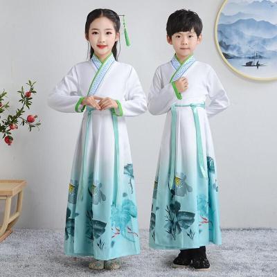 兒童古裝漢服國學服男童女童朗誦書童服裝小學生三字經元旦演出服