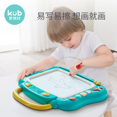 可優比(KUB)兒童畫板家用磁性畫畫板寫字板1-3歲寶寶小黑板繪畫玩具 松石綠