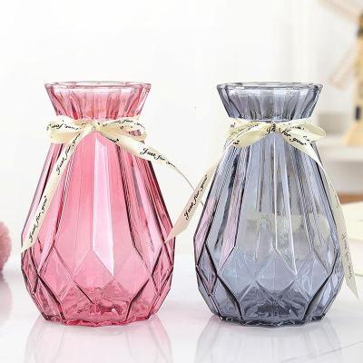 【歐式玻璃花瓶*2+絲帶】恬豆歐式創意玻璃花瓶水培綠蘿植物干鮮花插花瓶器皿餐廳客廳裝飾擺件
