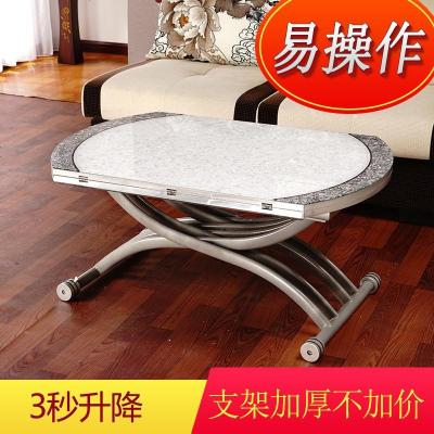 創意家具小戶型鋼化玻璃茶幾圓形多功能折疊升降茶幾餐桌兩用