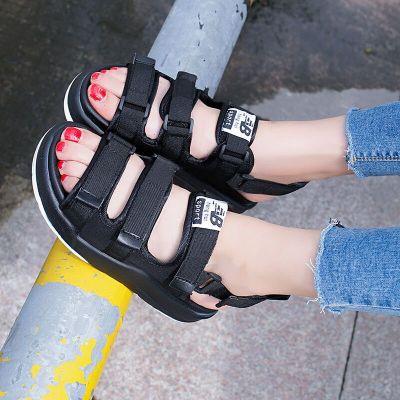2020新款凉鞋女韩版休闲平底松糕鞋厚底中跟学院风学生凉鞋黑色