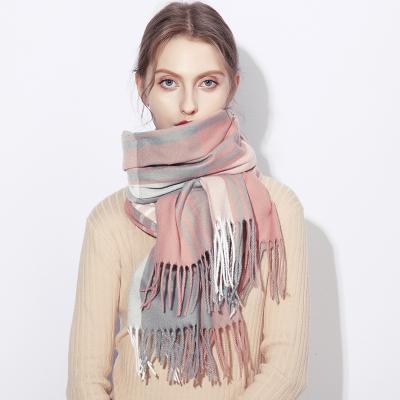 上海故事旗舰仿网红款羊绒粉色英伦风格子围巾冬季女韩版百搭披肩