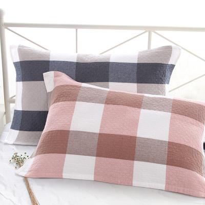 图强纯棉纱布枕巾一对 日式格子枕头巾学生成人情侣男女透气枕巾