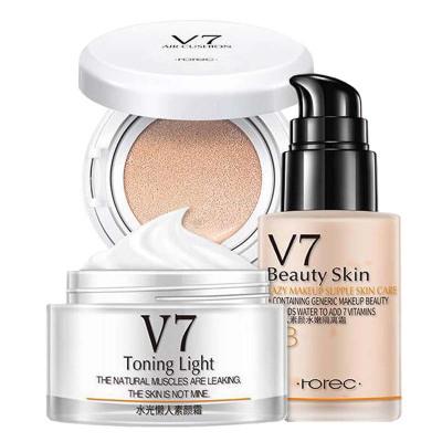 韓嬋彩妝套裝組合化妝品三件套裝V7素顏霜氣墊BB霜隔離霜組合日常彩妝自然裸妝