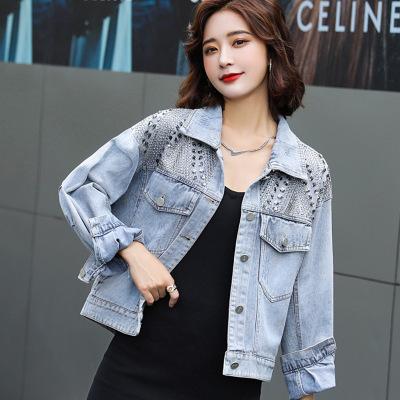佐露絲亮片貼珠牛仔服外套女短款小個子2020秋季新款女裝韓版時尚寬松夾克上衣潮