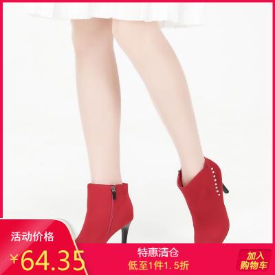 新款冬靴優雅高跟細跟靴修面絨里時裝靴子1017605031