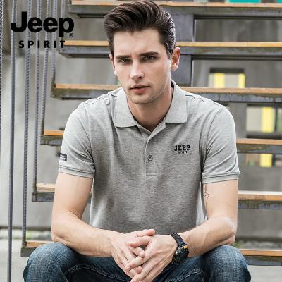 JEEP吉普短袖T恤男裝夏季男士中年POLO衫商務休閑翻領爸爸保羅衫