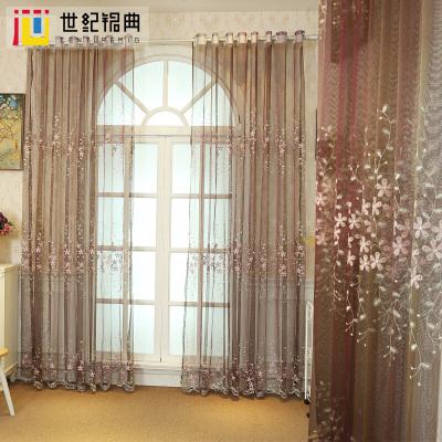 小碎花刺绣纯色花纱免打孔魔术贴粘贴简约窗纱客厅卧室飘窗纱帘