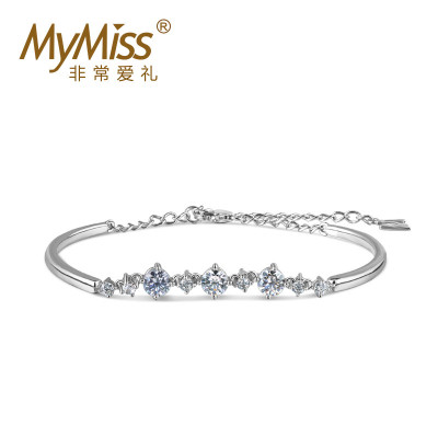 MyMiss925银镀铂金手链女士简约日韩风格学生百搭时尚手链女款情人节生日礼物送女友 真情