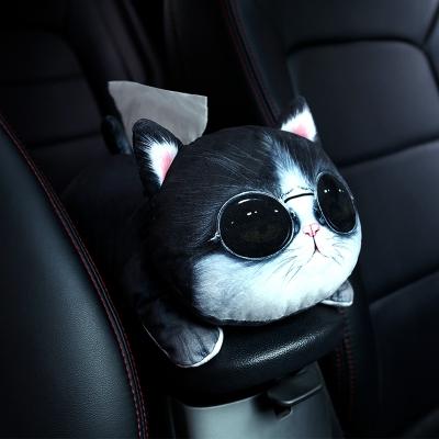 創意車載紙巾盒卡通椅背多功能汽車紙巾抽扶手箱掛式可愛座式紙巾 仿真款-拽拽貓 抖音