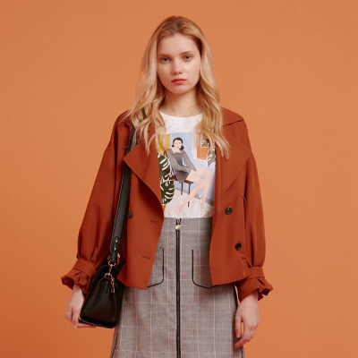 【1件3折价:101.7】美特斯邦威夹克女复古抽绳短外套纯色甜美时尚风衣秋装新款