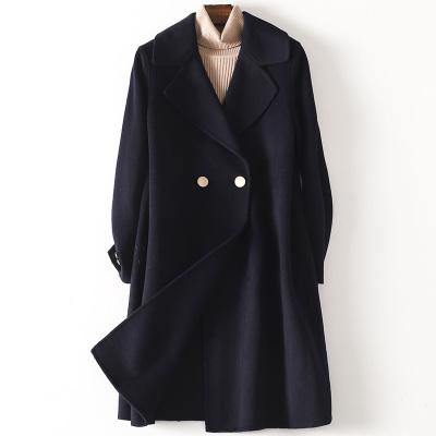 2020春季新款雙面毛呢大衣女士流行時尚羊毛呢子長款外套