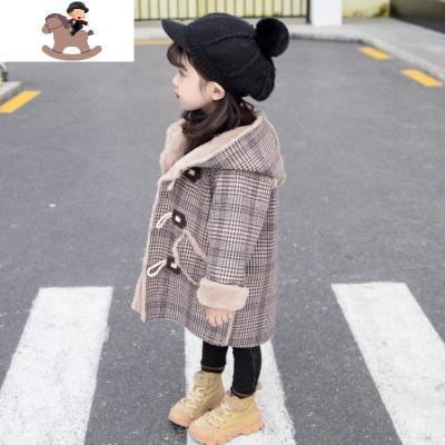 女童毛呢外套秋冬装2019新款中长款儿童加厚加绒宝宝呢子大衣洋气