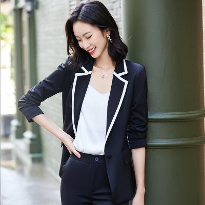 女先生職業女褲套裝 重磅高檔醋酸緞面長袖職業西裝套裝女秋季2020新款時尚職業氣質御姐顯瘦洋氣兩件套面試銷售正裝工作服