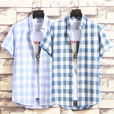 夏季新款男士純棉襯衣男格子印花短袖襯衫修身潮流青少年韓版小清新半袖衫ins超火